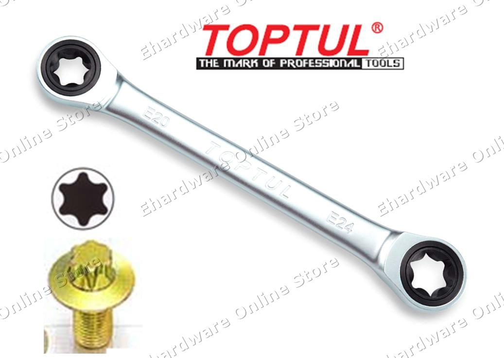 TOPTUL RATCHET DOUBLE E-TORX RING WRENCH (AOAC) (OPEN STOCK)