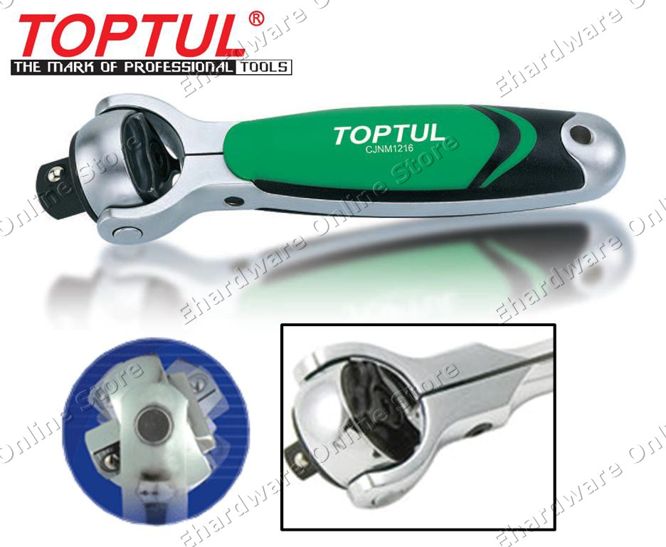 TOPTUL STUBBY SWIVEL HEAD RATCHET HANDLE (CJNM) (OPEN STOCK)