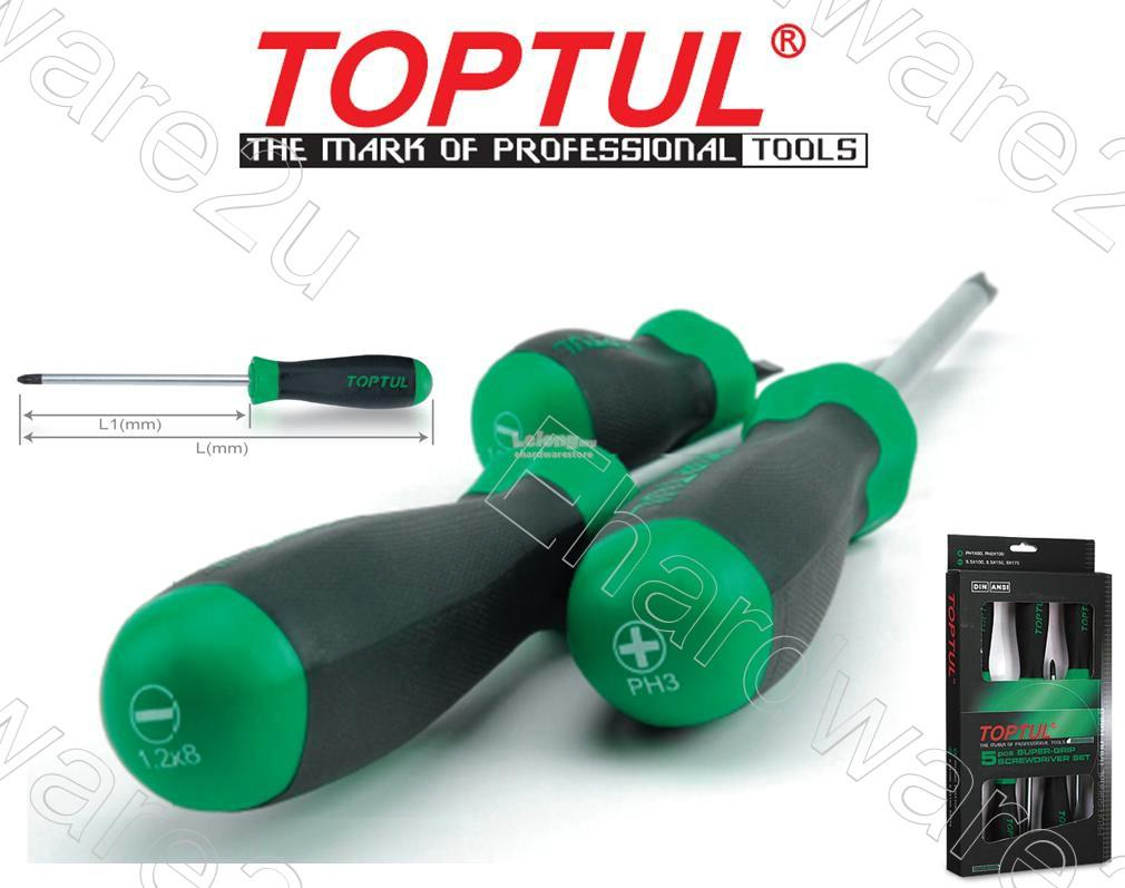 TOPTUL Super Grip Screwdriver Set (GAAE08OS)