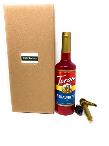 Torani 750 mL Strawberry Flavoring / Fruit Syrup with RSG TODAY Syrup Pump and