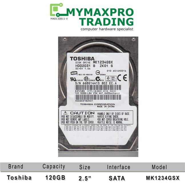 Toshiba 120GB 2.5' SATA Laptop Notebook Hard Disk 5400RPM MK1234GSX