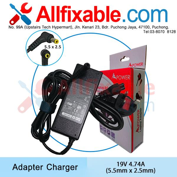 Toshiba 19V 4.74A Portege A205 Satellite A85 C55 L35-S Adapter Charger