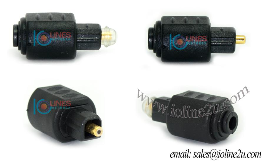 Toslink Round Female to Square male connector converter Adapter