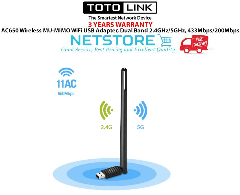 TOTOLINK AC650 Wireless MU-MIMO WiFi USB Adapter, 2 4GHz/5GH - A650UA