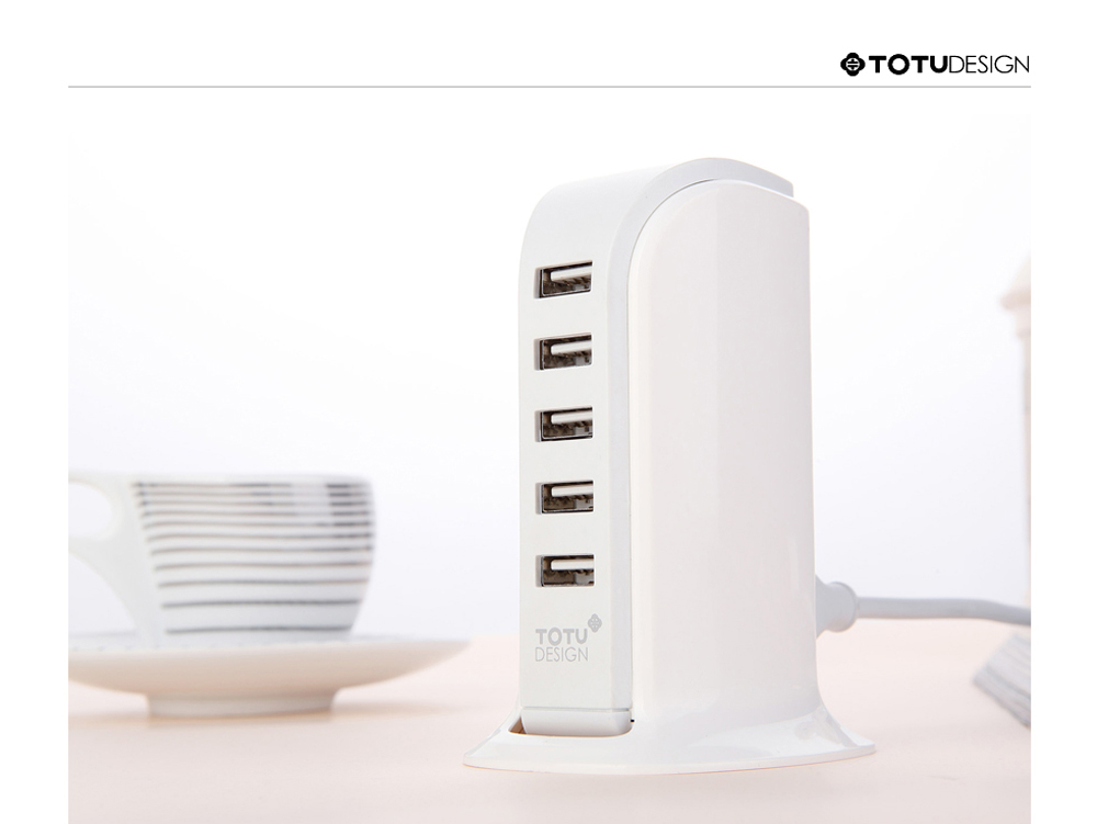 TOTU Five USB Power Port 6A Quick Charging Adapter Full Compatibility