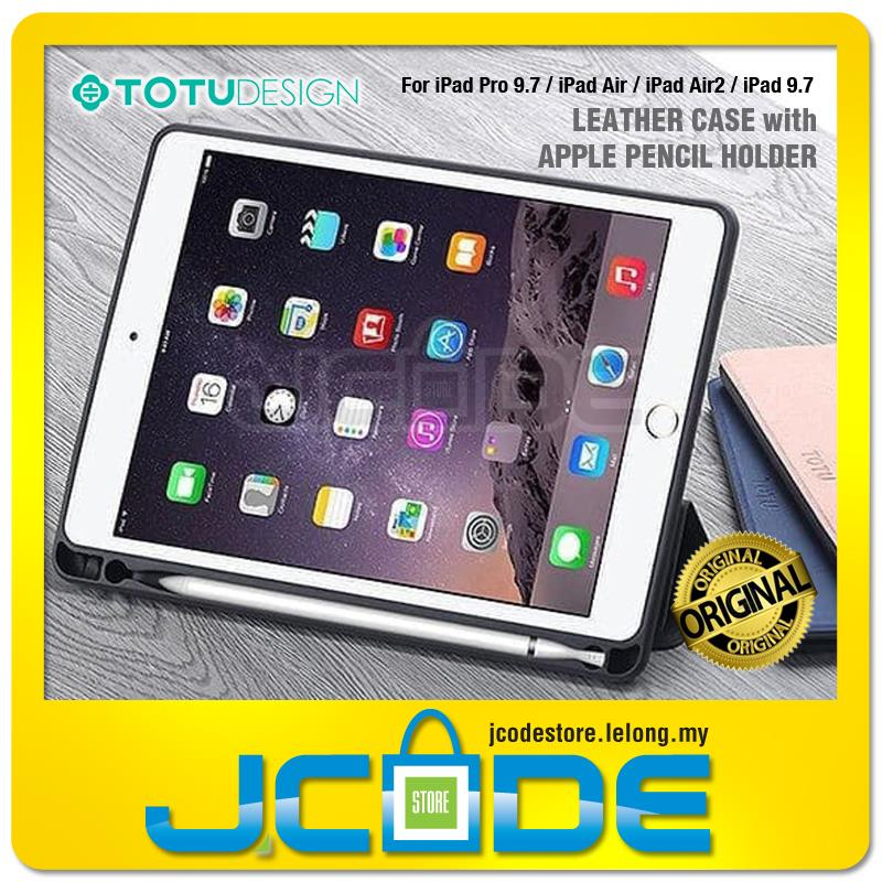 lowest price 85dd7 9022c Totu Leather Case with Apple Pencil Holder For iPad Pro 9.7 Air Air2