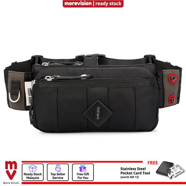 Tough Warrior Waist Pouch Bag Black Oxford Fabric Messenger Bag
