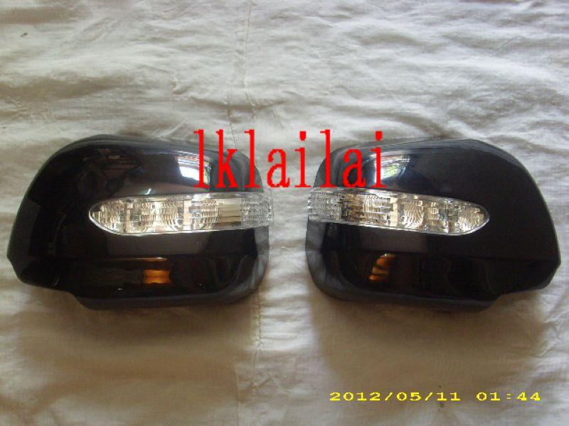Toyota Alphard '02 Door Mirror Cover With LED [Silver / Black] ABS