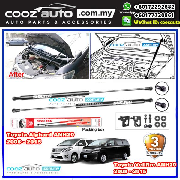Toyota Alphard Vellfire ANH20 2008 - 2015 Sustec Front Hood Damper Bonnet  Gas