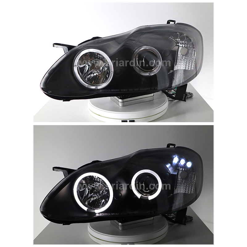 Toyota Altis 01-07 Black Projector Head Lamp w Ring
