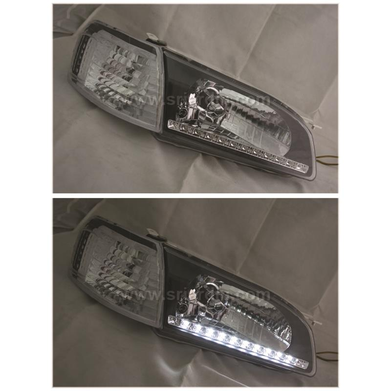 Toyota Corolla AE111 98 Black Crystal Head Lamp with LED