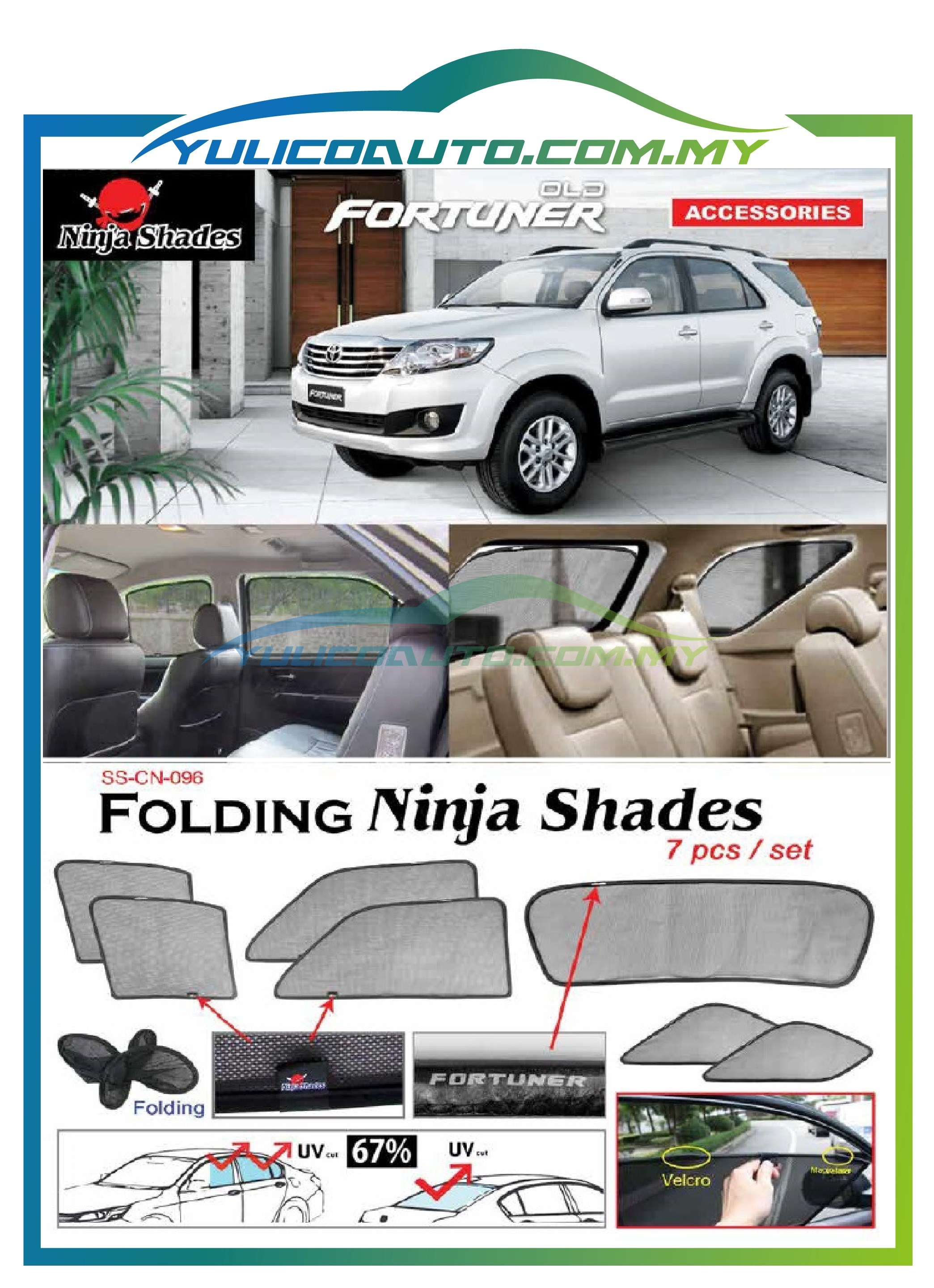 Toyota Fortuner Old Year '06-'16 Magnetic Ninja Sun Shade/Sunshade