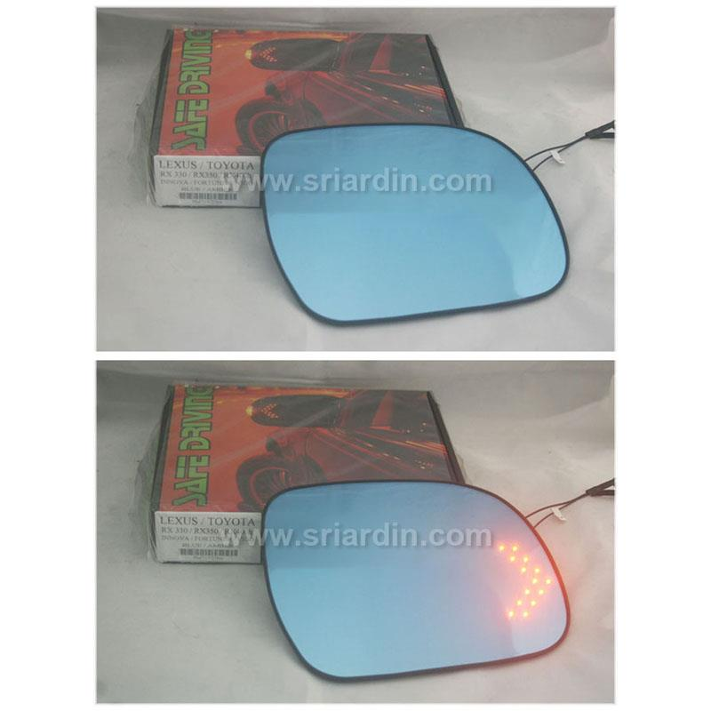 Toyota Harrier 04-06 Blue Side Mirror Glass with LED Signal