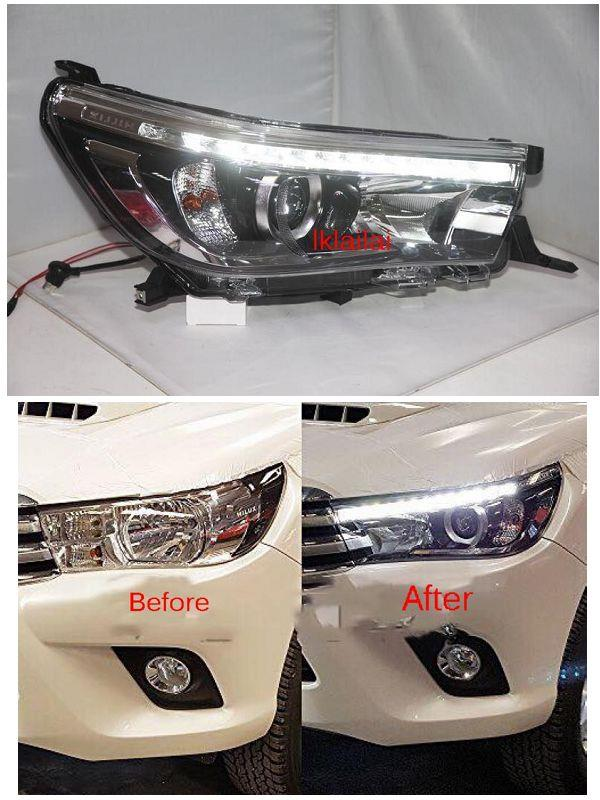 Toyota Hilux Revo '15-17 LED Daylight R8 Projector Head Lamp Black