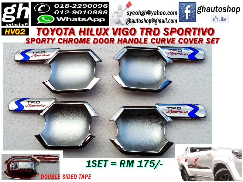 TOYOTA HILUX VIGO TRD SPORTIVO CHROME CURVE DOOR HANDLE COVER SET HV02