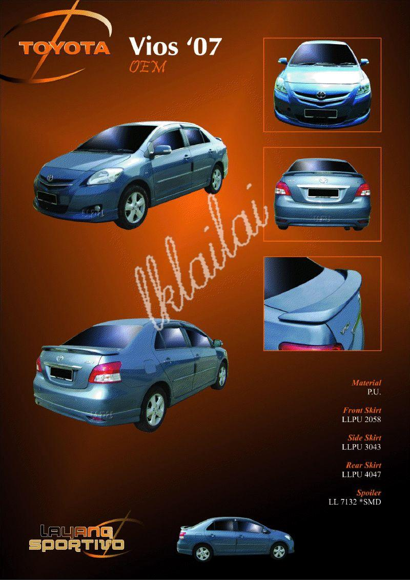 Toyota Vios '07 OEM Body Kits Free Spoiler + Paint Work