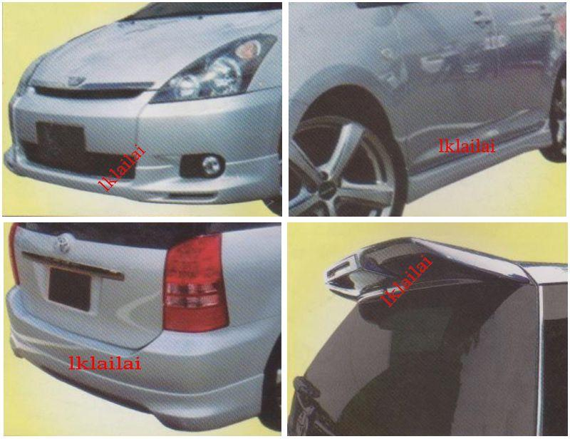 Toyota Wish '03 WALD Style Full Set Skirting With Spoiler [PU]