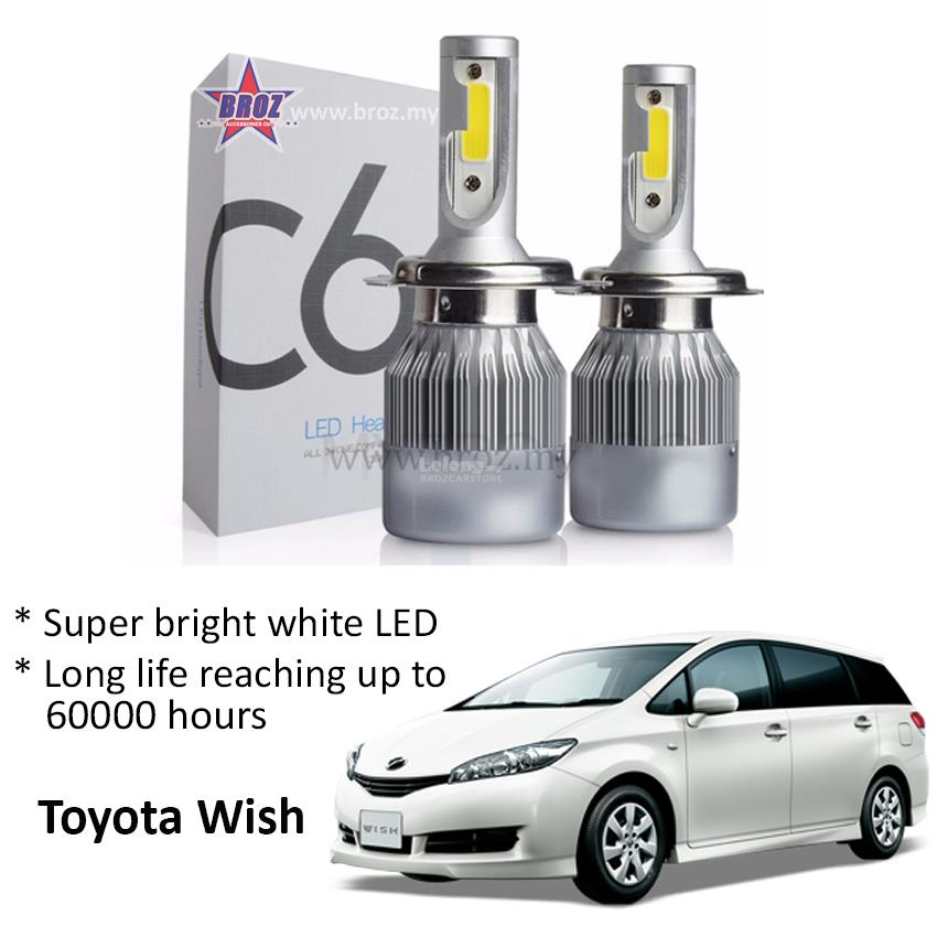 Toyota Wish Head Lamp C6 LED Light Car Auto Head light Lamp 6500K