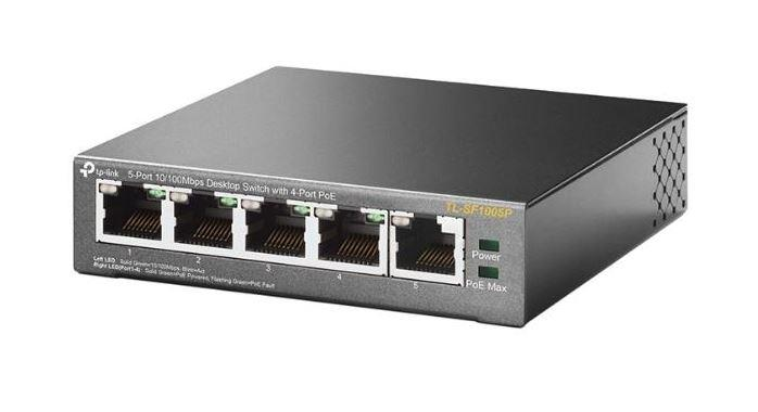 TP-LINK 5 PORT 10/100MBPS DESKTOP SWITCH WITH 4 PORT POE (TL-SF1005P)