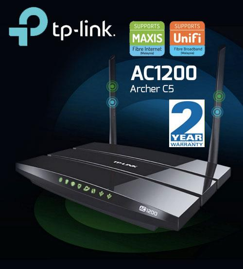 TP-LINK AC1200 Wireless Dual Band Gigabit UniFi Router Archer C5 WiFi