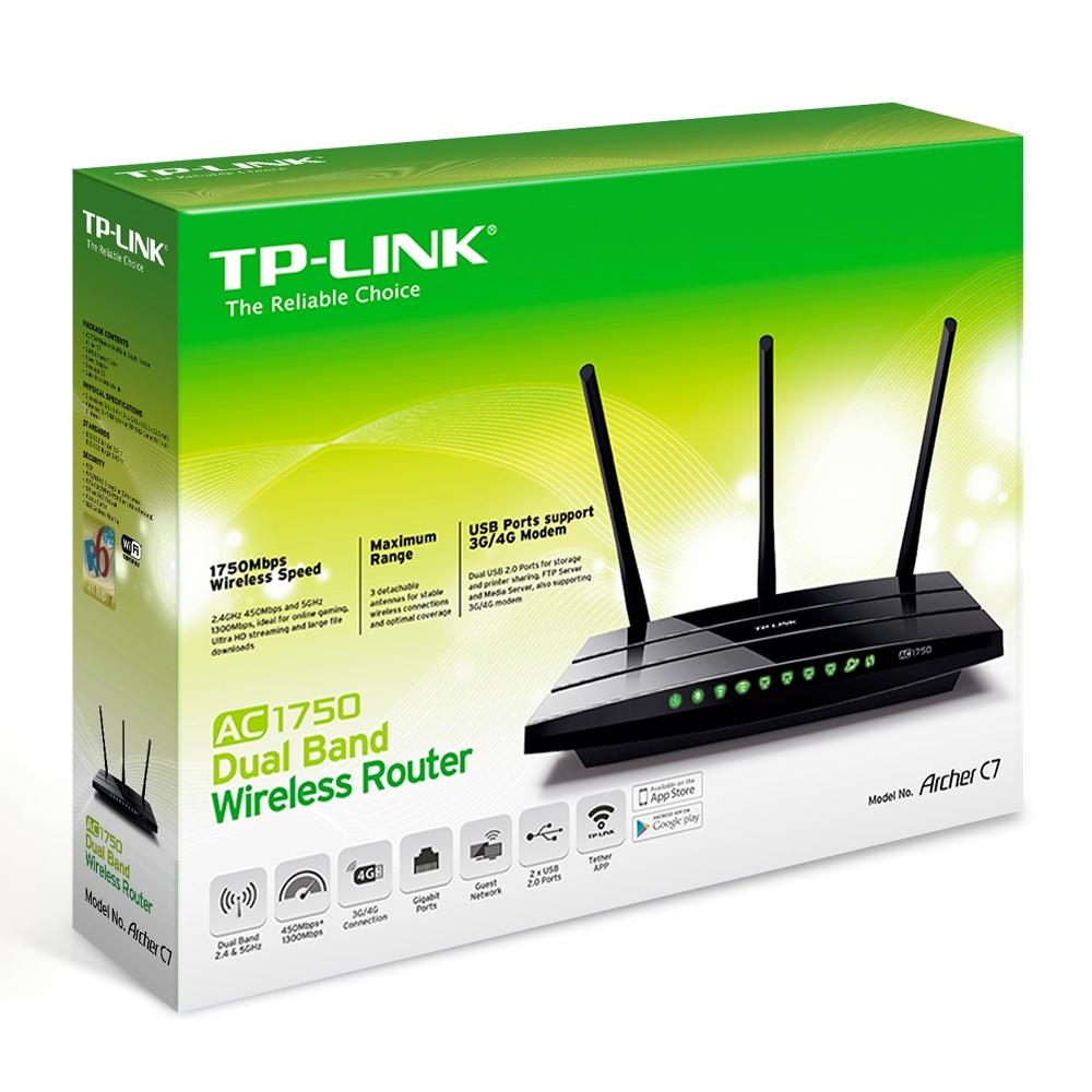 TP-LINK AC1750 Wireless Dual Band Gigabit Router Archer C7 (Unifi, Maxis  Fibre