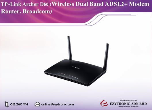 TP-LINK Archer D50 Wireless Dual Band ADSL2+ Modem Router, Broadcom
