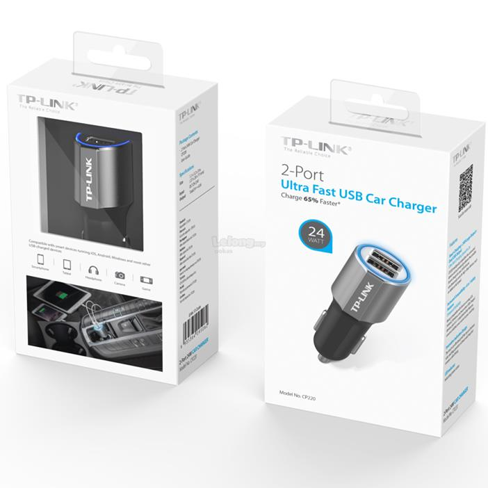 TP-LINK CP220 24W 2-Port 2.4A USB Fast Charging Car Charger for Mobile