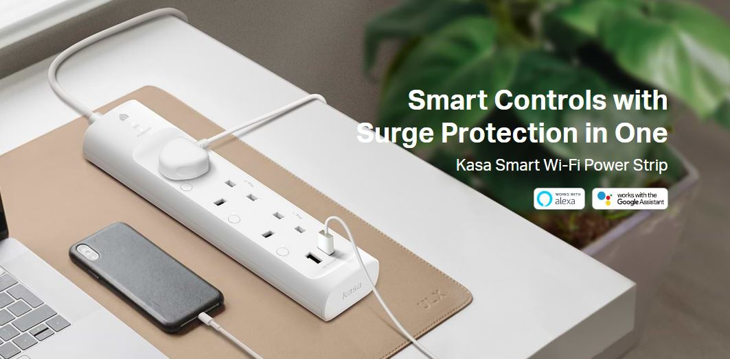 TP-LINK KASA SURGE PROTECTION WIFI 3-PLUGS 2-USB SMART EXTENSION SOCKET 1M (KA