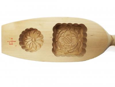Traditional Wooden Square Floral Wooden Mooncake Mould 2 In
