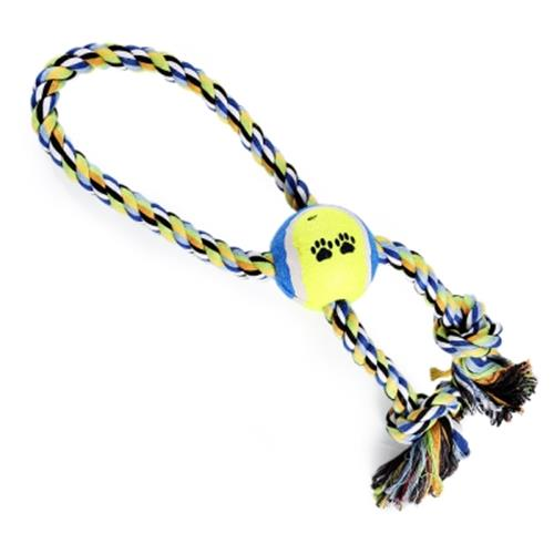 TRAINING GADGET DURABLE CHEW COTTON KNOT PET ROPE TOY (COLORMIX)
