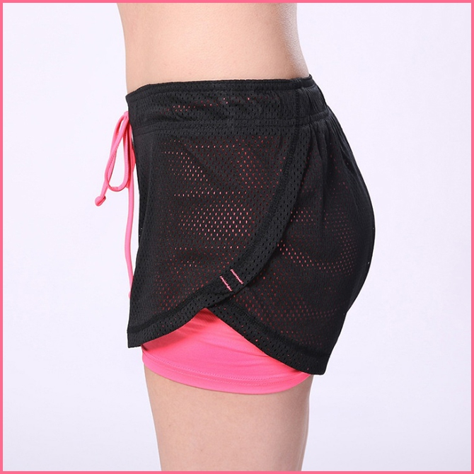 Transparent Mesh Sports Shorts Fake Two Anti-light Fitness Quick-drying  Breath fc4d3c7ef4