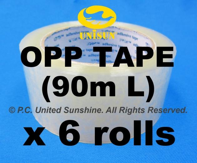 Transparent Plastic OPP TAPE 48mm x 90m L x 6 ROLLS for Packaging