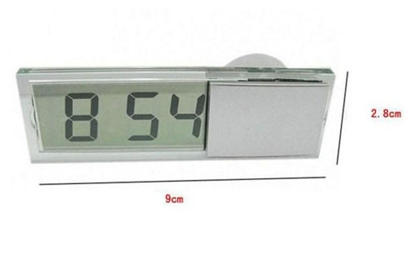 Transparent Sucker Electronic LCD Digital Clock Car Thermometer