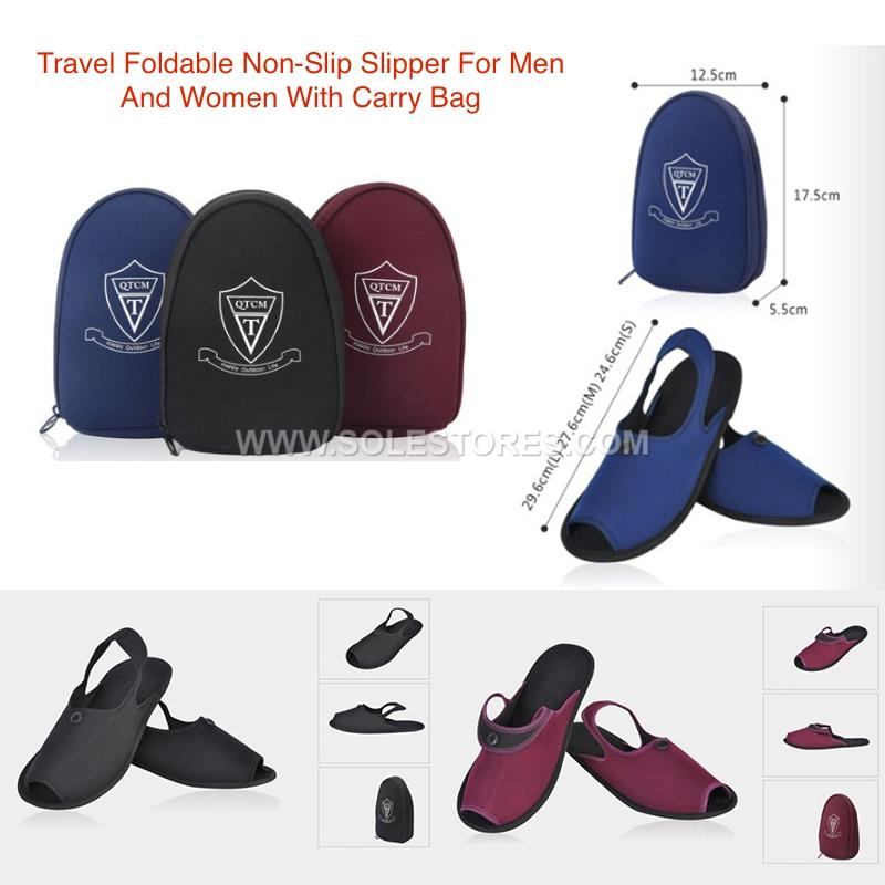 Travel Foldable Non Slip Slippers For Men And Women With Storage Bag