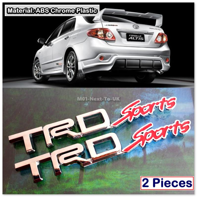 TRD SPORTS RED 3D CHROME CAR BADGE DECAL EMBLEM  2 PCS B2273RD#36-46
