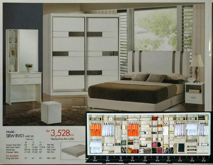 Treez Modern Bedroom Set 5ft Wardrobe Queen Bed Mix Box Series