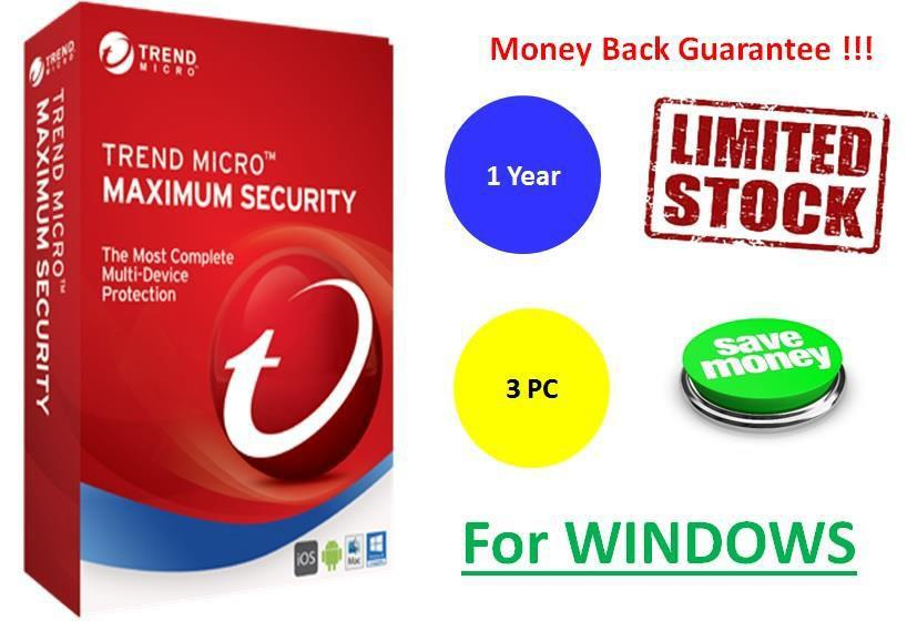 Trend Micro Maximum Security 2017, 1 Year 3 PC for Windows
