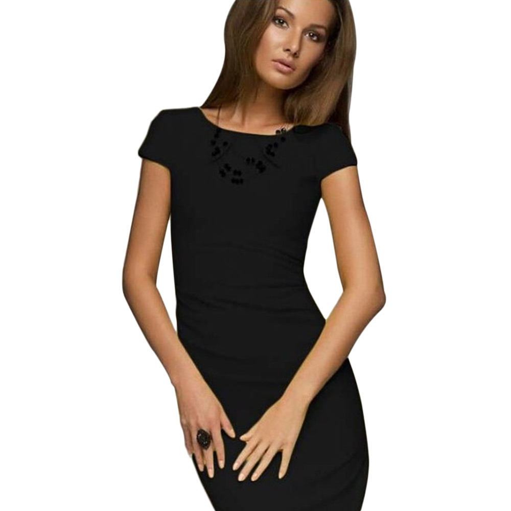 TRENDY ROUND COLLAR SHORT SLEEVE PLEATED BACK ZIPPER SLIT PATCHWORK BODYCON MI