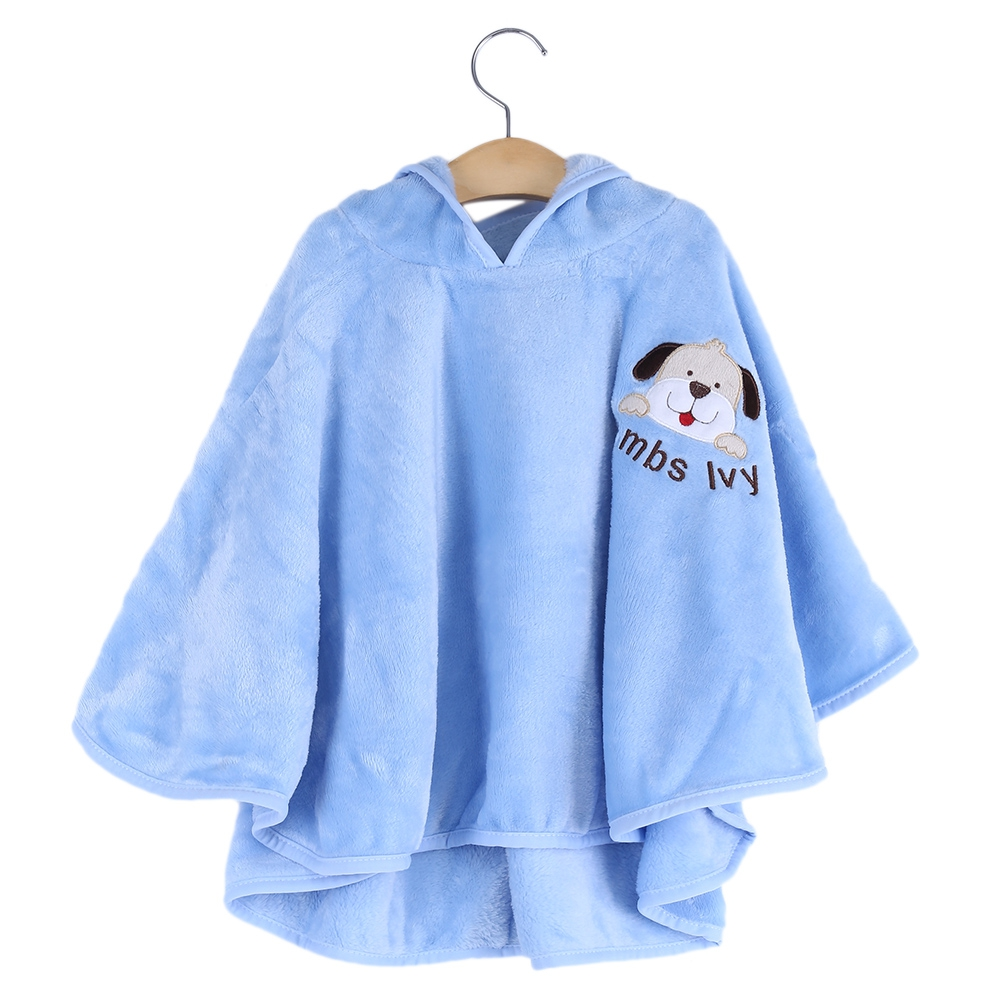 TRENDY HOODED SLEEVELESS SOFT PURE COLOR PRINT CHILDREN CLOAK (BLUE)