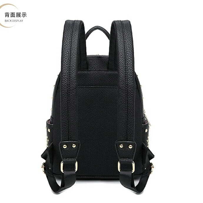 Trendy Leather Backpacks Women s Gold Rivet Backpack Korean Fashion St 116dfc8df1