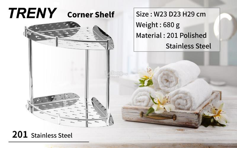 TRENY 2 Tiers corner shelf 201 Shelves Stainless Steel Bathroom