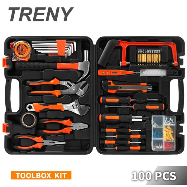 TRENY JYS 100PCS Multi-use Home Hand Carry Tool Kit