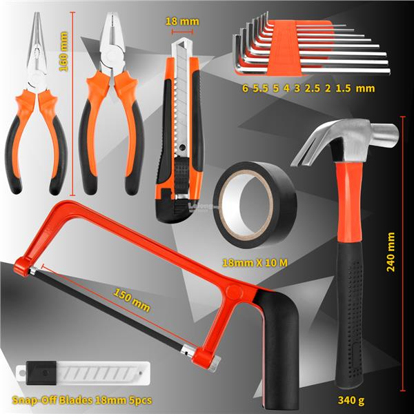 TRENY JYS 100PCS Multi-use Home Hand Carry Tool Kit (Household DIY Too