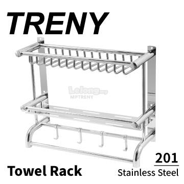 TRENY Stainless steel 201 double kitchen dish rack