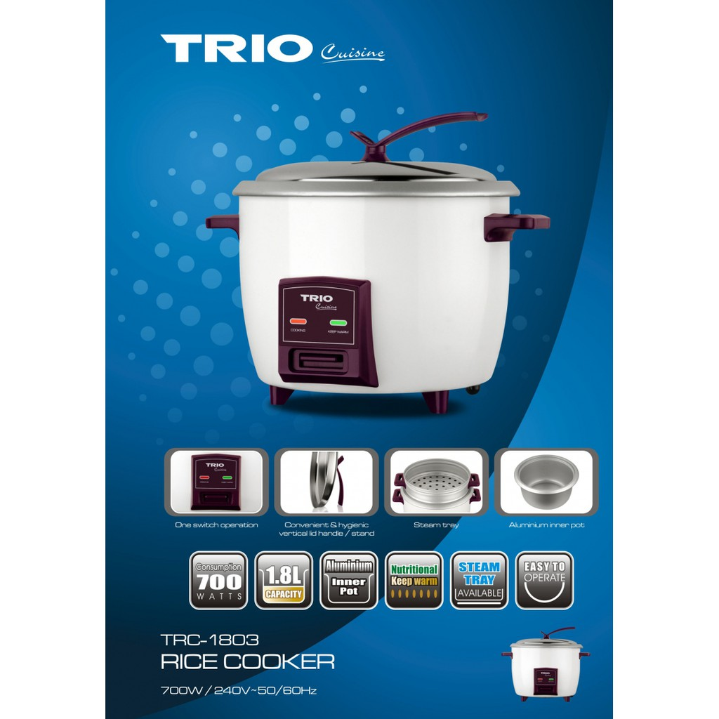 TRIO Conventional Rice Cooker TRC-1803 (1 8L) Steam Tray Periuk Nasi