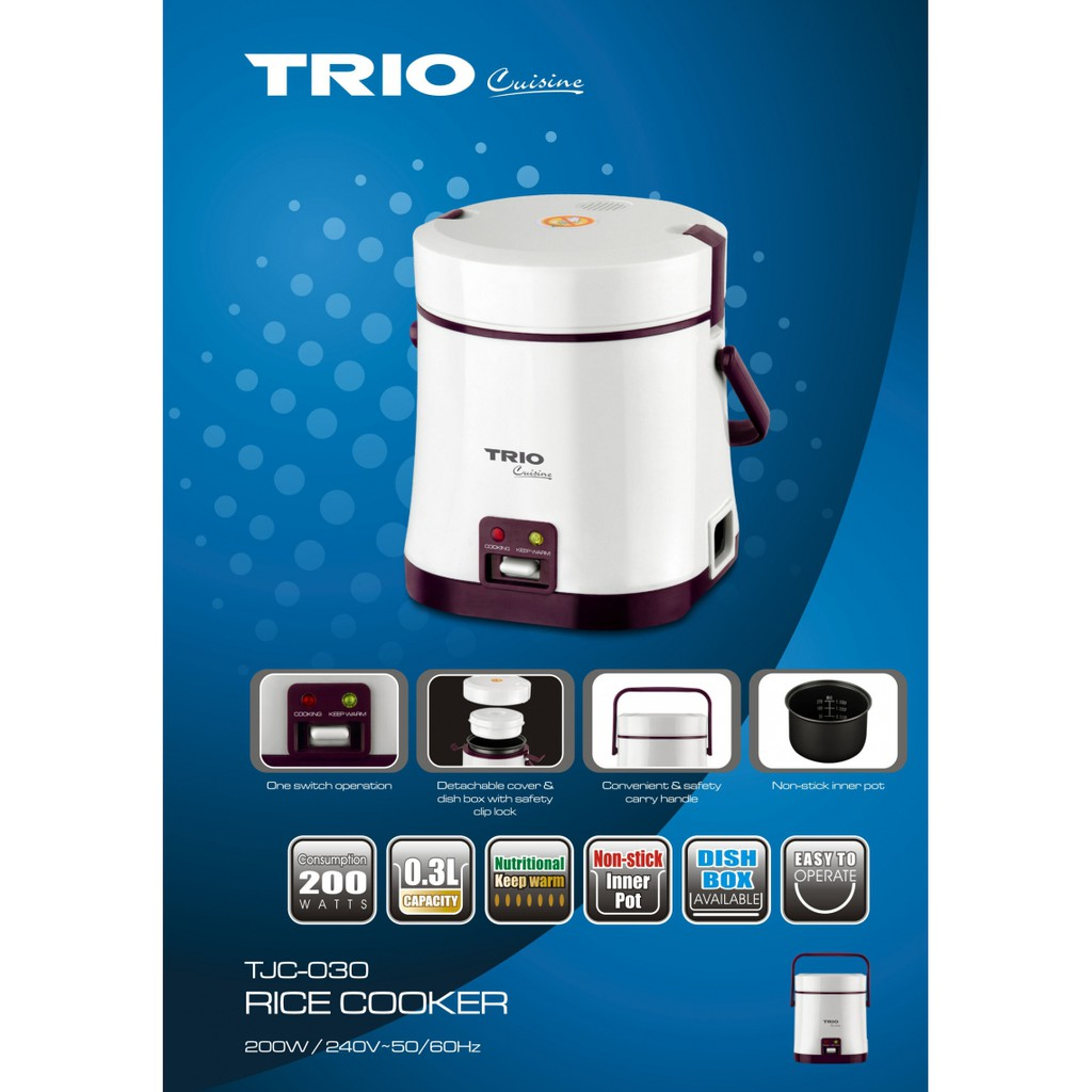 TRIO TJC-030 0 3L MINI PORTABLE RICE COOKER