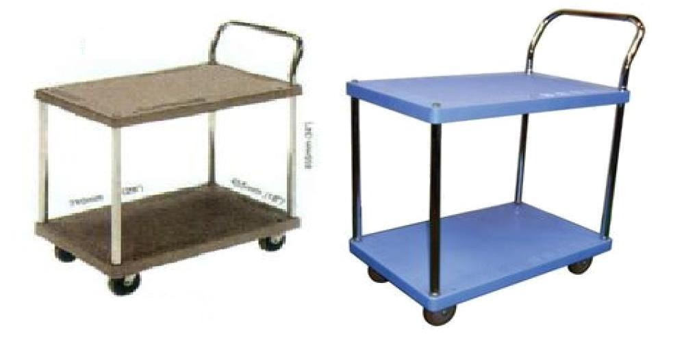 Trolley Hand Truck 1Handle 2Decker 150Kgs PVC Brown Blue PS114