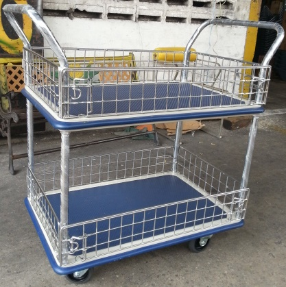 Trolley Hand Truck 2Handle 2Decker 300Kgs Metal Netting NF327