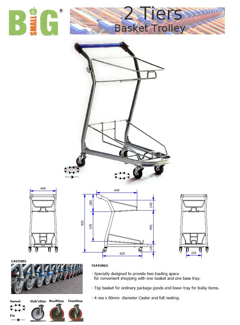 Trolley Shopping Market 2Tier Basket ST SDT2TB FOC Del KLV No GST MOQ2