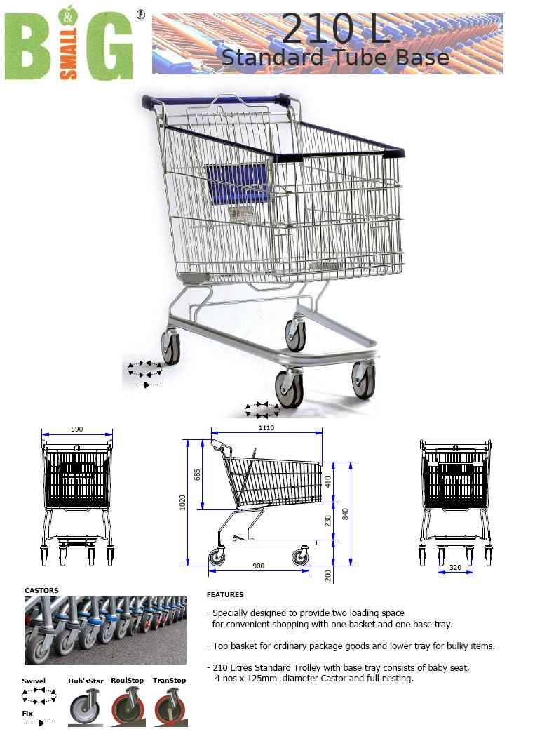 Trolley Shopping Supermarket 210Litre Standard Tube Base ST SDT210